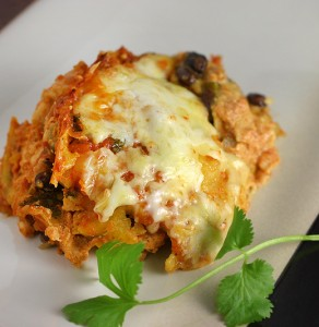 Veggie Chicken Enchilada Bake