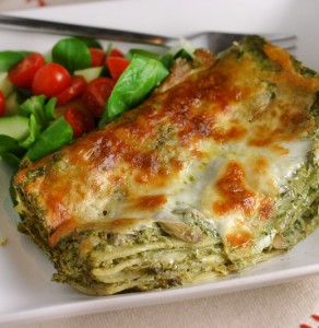 Green Lasagna w/ Spinach & Mushrooms