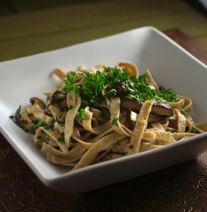 Fettuccine with White Wine Roasted Shiitakes